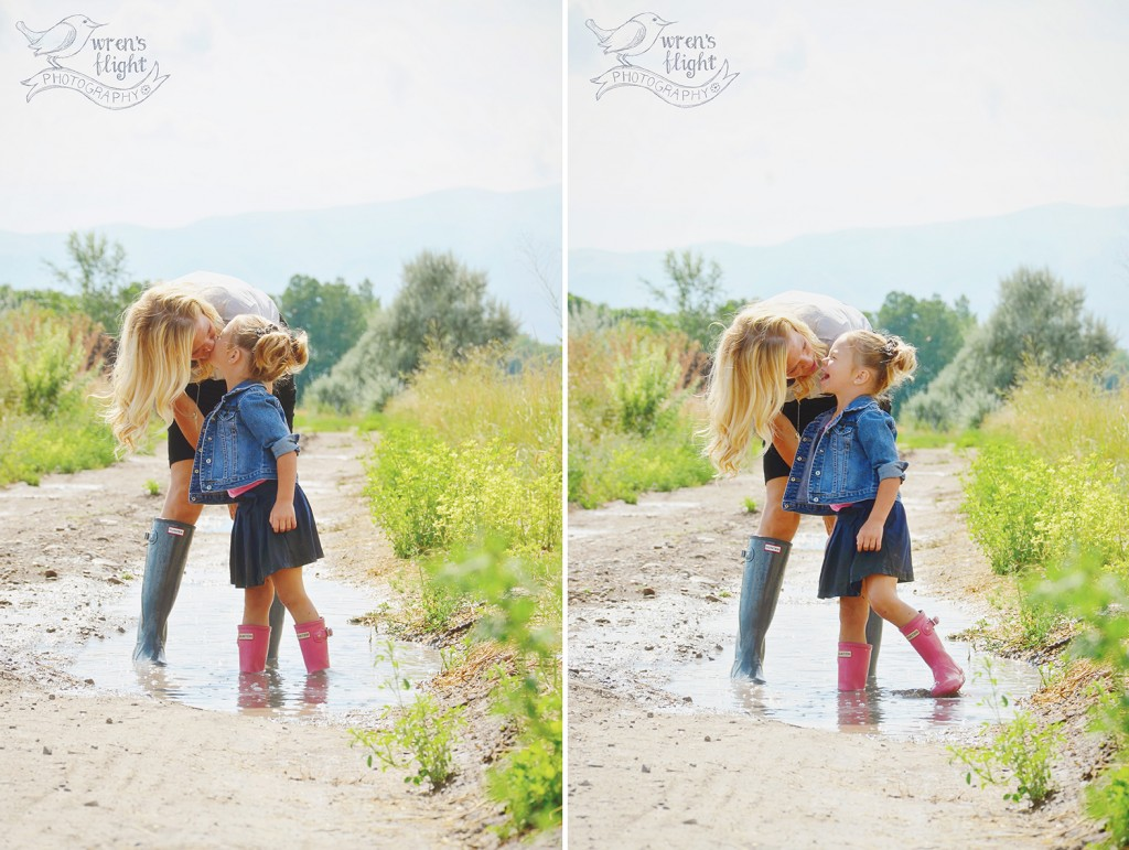 Mommy Kisses Puddle Splashing Summer