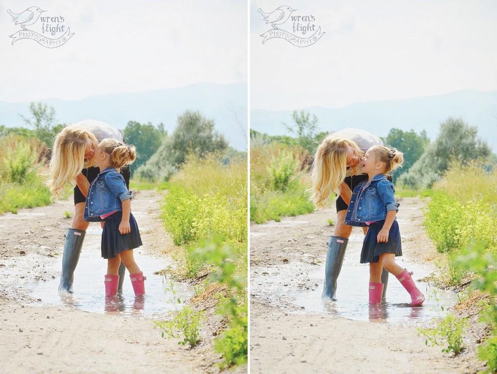 Mommy Kisses Puddle Splashing Summer