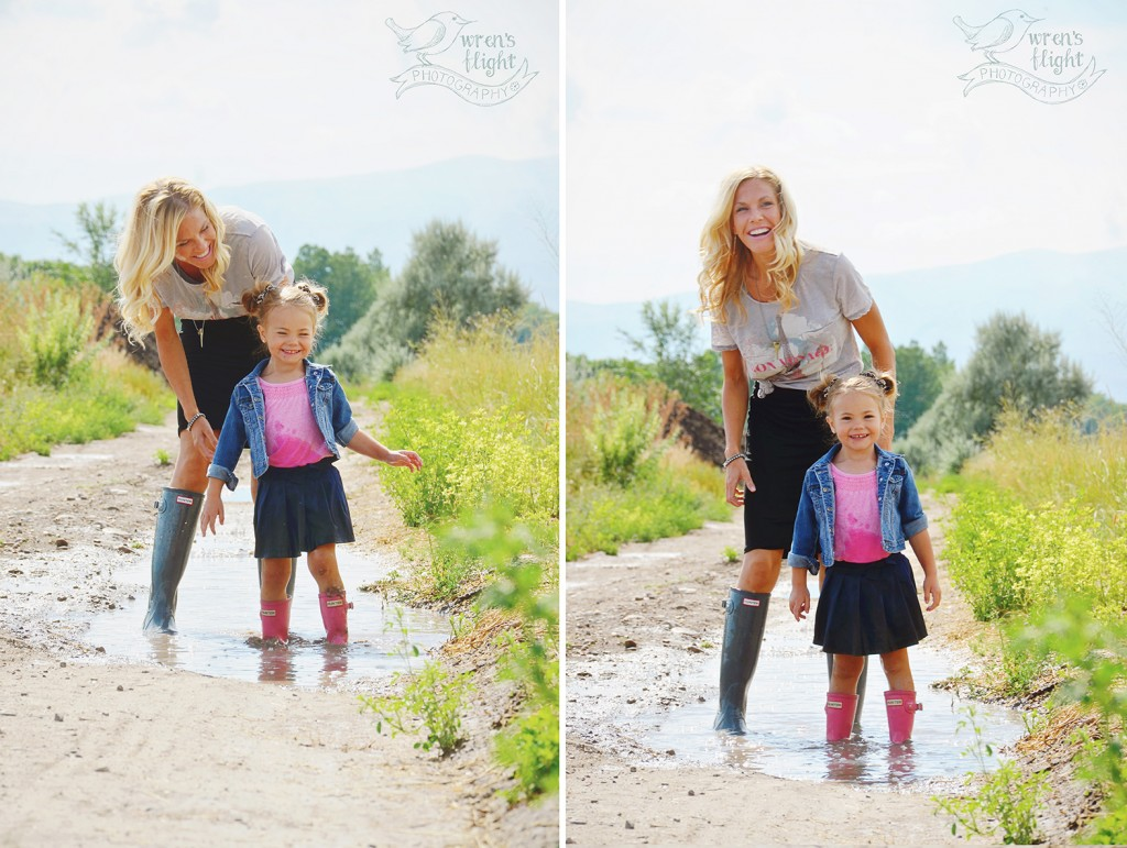 Mother Daughter Rainboots Walk Country Road