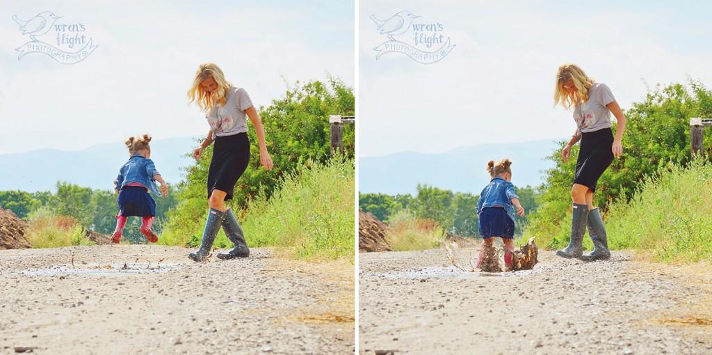 Mud Puddle Splashing Summer Family