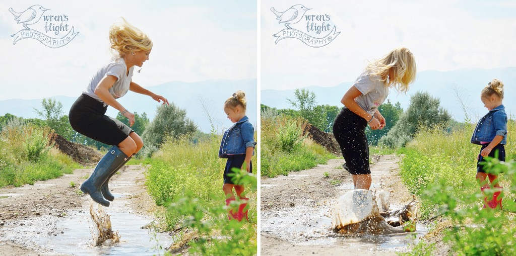 Puddle Jumping Mommy Daughter