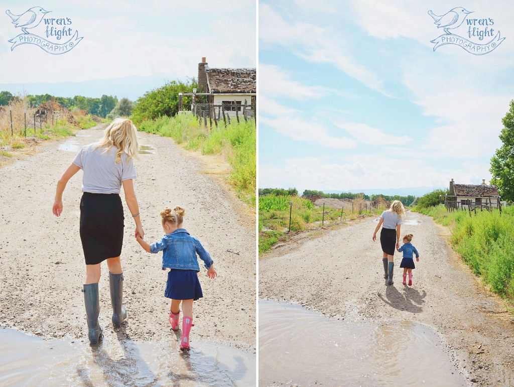 Sunshine and Puddles mother daughter walk