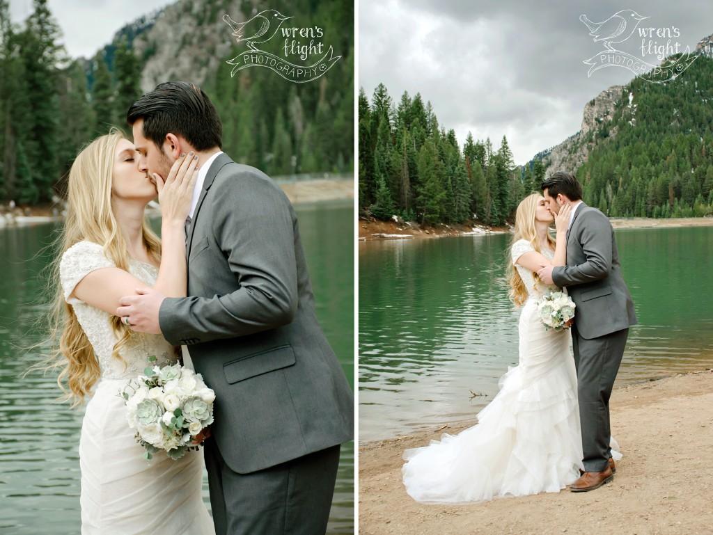 Kiss Couple Wedding Utah Rainstorm Mountain Photography
