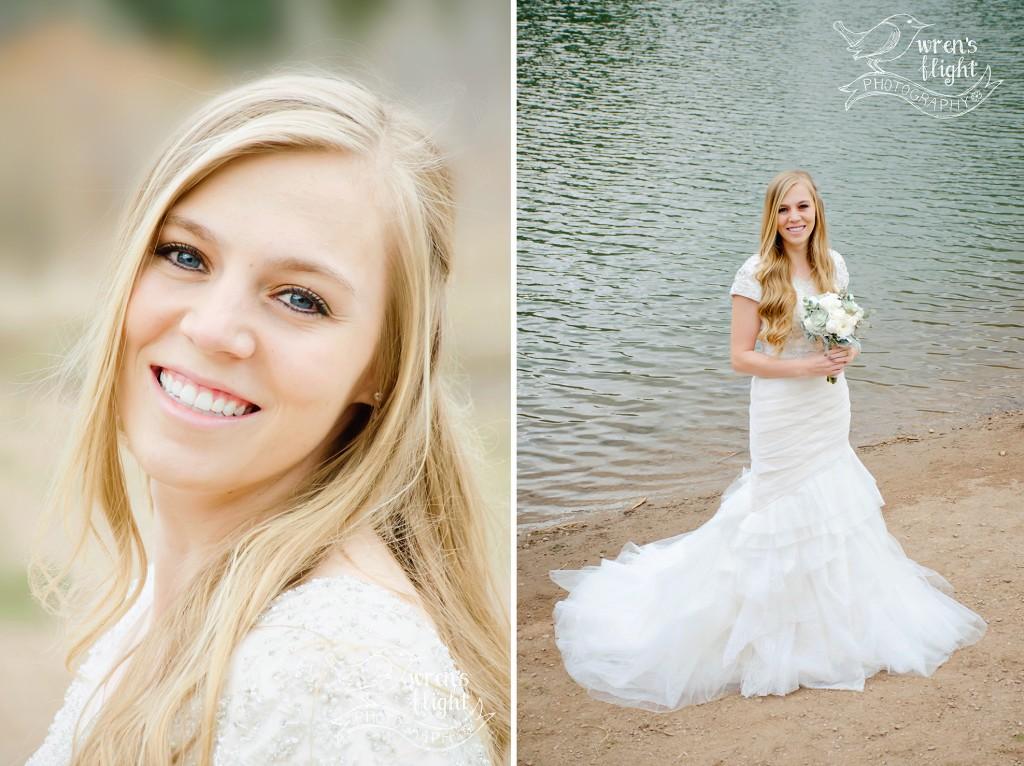 Utah Bridal Photo Session Mountain Lake Ivory Wedding Dress