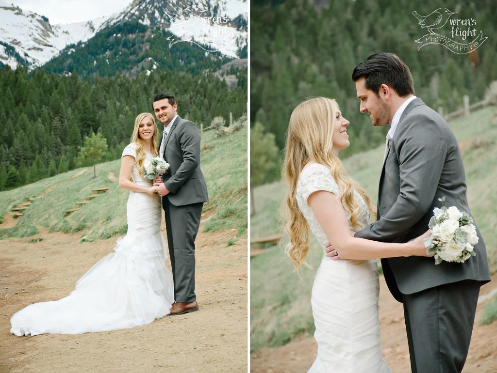 Utah Mountainside Pine Tree Wedding Photos