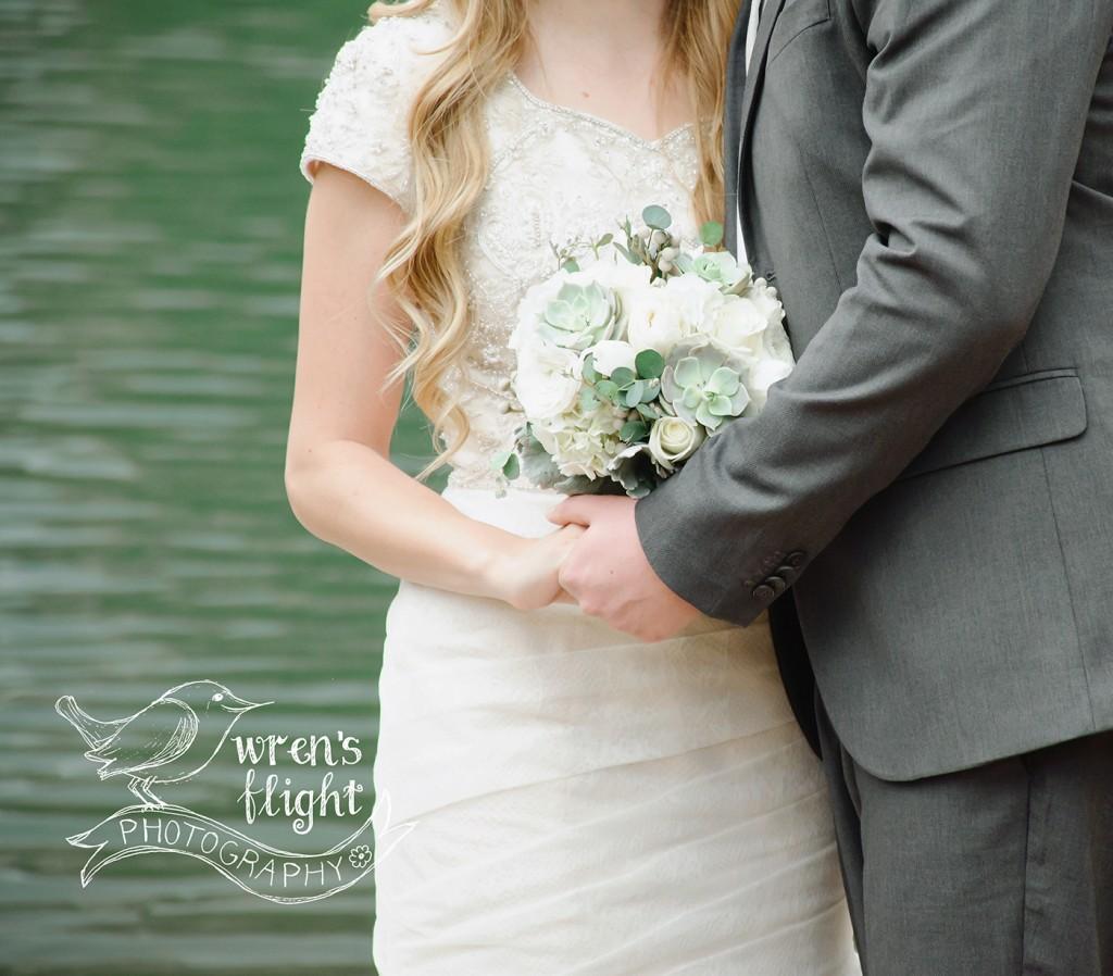 Utah Wedding Photographer Succelent Bouquet Grey Suit