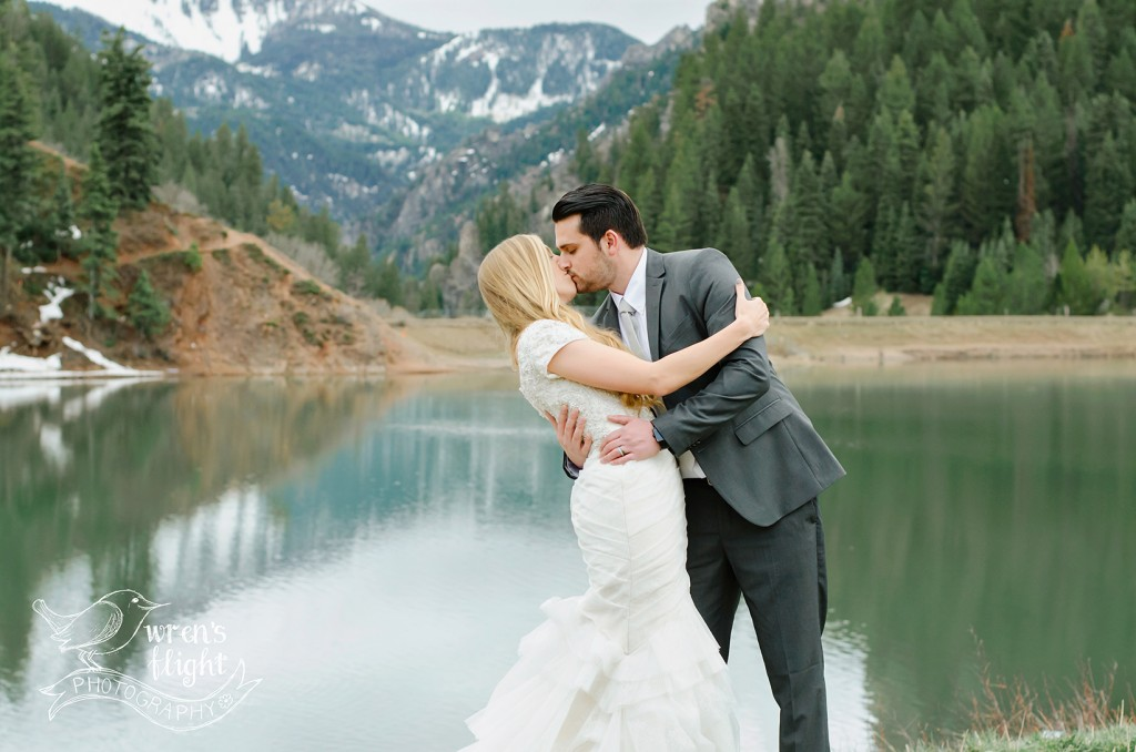 Wedding Dip Kiss Lake Reflection Utah Photographer